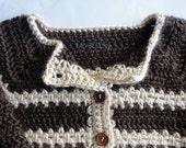 RESERVED for Montonya Toddler Boy Crochet Sweater - Chocolate Brown and Creamy Natural - 2T 3T