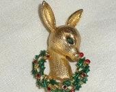 Reserve for Friendly Girl Vintage Christmas Brooch Mylu Reindeer Studded with Rhinestones