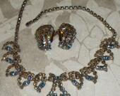 Necklace Earrings Blue Aurora Borealis Rhinestones