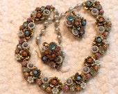 Vintage Rhinestone Necklace Earrings Signed Art