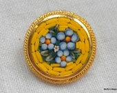 Vintage Mosaic Tile Brooch Flowers Blue and Yellow Italy