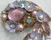Kramer Lavender Pink Art Glass Brooch Rhinestones Flowers