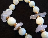 Miriam Haskell Bead Necklace Mother of Pearl Rose quartz