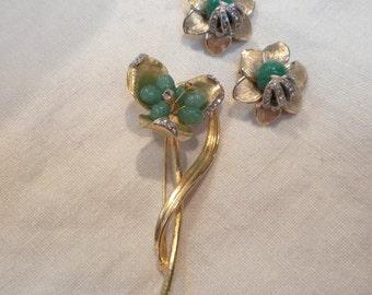 Vintage Jade Art Glass Brooch Earrings Flower with Clear Pave Set Rhinestones