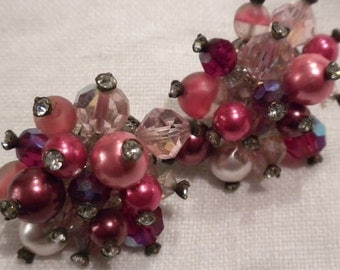 Vintage Vendome Earrings Hot Pink, Fuchsia, Red Beads and Crystals on Sale