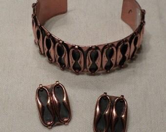 Vintage Renoir Copper Bracelet and Earrings Espana Design