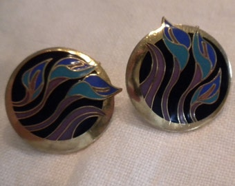 Laurel Burch Earrings Black Blue and Purples Lilies for Les