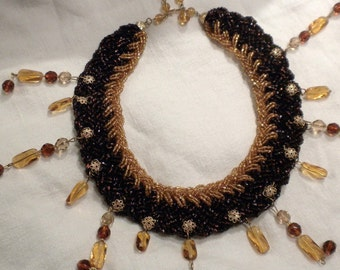 Necklace Woven Brown and Gold Glass Beads with Dangles