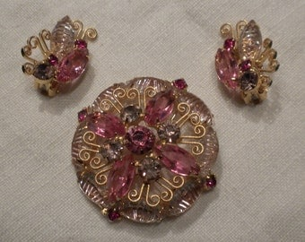 Lovely Juliana Pink and Lavender Lacey Brooch and Earrings by DeLizza and Elster