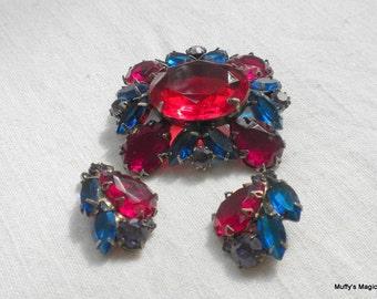 Vintage Rhinestone Brooch Earrings Red Blue Purple
