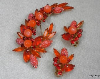 Juliana Brooch Earrings Orange Moon Glow Glass & Rhinestones