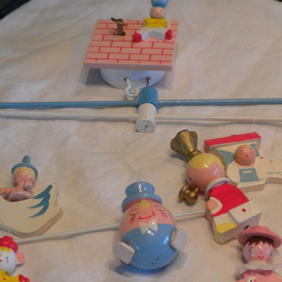 IRMI Wooden Handpainted Mother Goose Musical Mobile