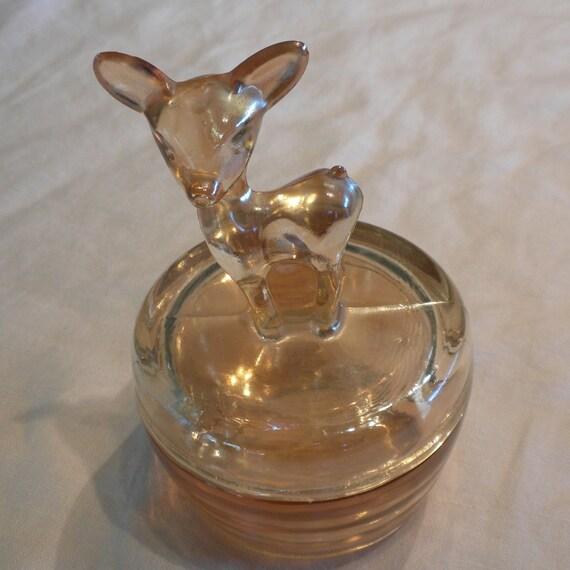 Deer Carnival Glass Powder Jar by Jeannette Glass