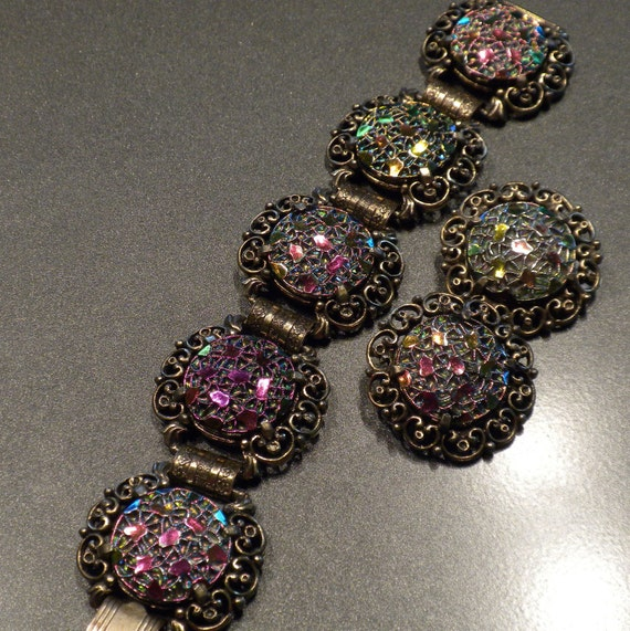 Vintage Bracelet Earrings By Judy Lee With Iridescent By
