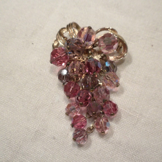 Bow Brooch Pink and Lavender Crystal Dangle Grapes