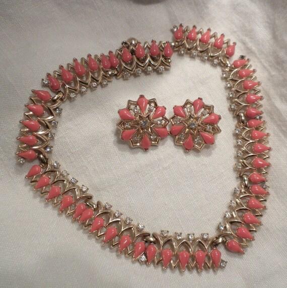 Trifari Necklace Earrings Orange Glass and Rhinestones