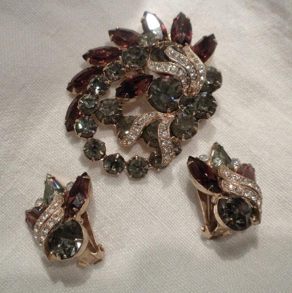 Reserved for Jaytic Eisenberg Rhinestone Brooch Earrings Brown and Gray