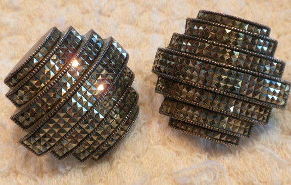 Vintage Sterling Silver Judith Jack Art Deco Marcasite Earrings