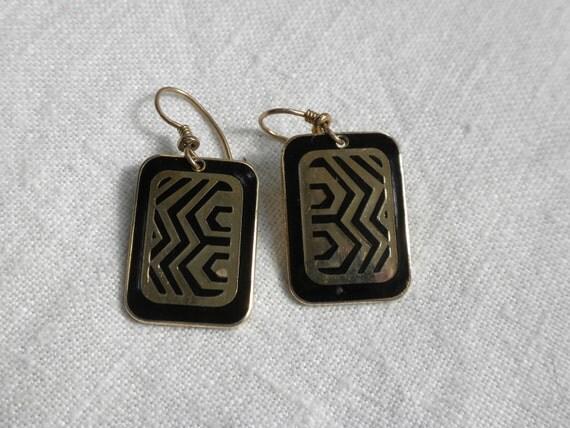 Vintage Laurel Burch Black Geometric Earrings