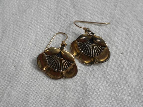 Vintage Laurel Burch Flower Fan Earrings