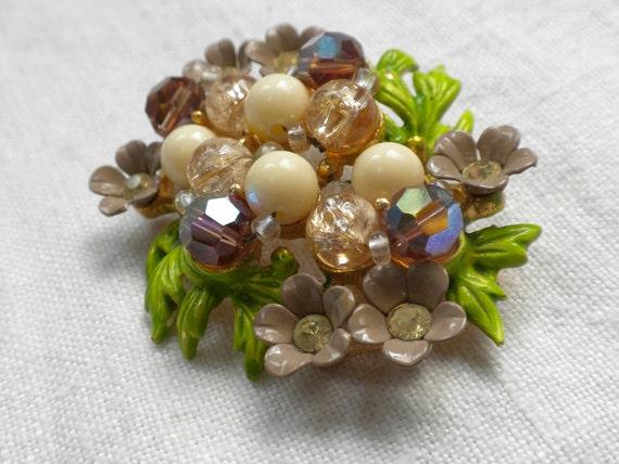 Vintage Selini Selro Flower Brooch
