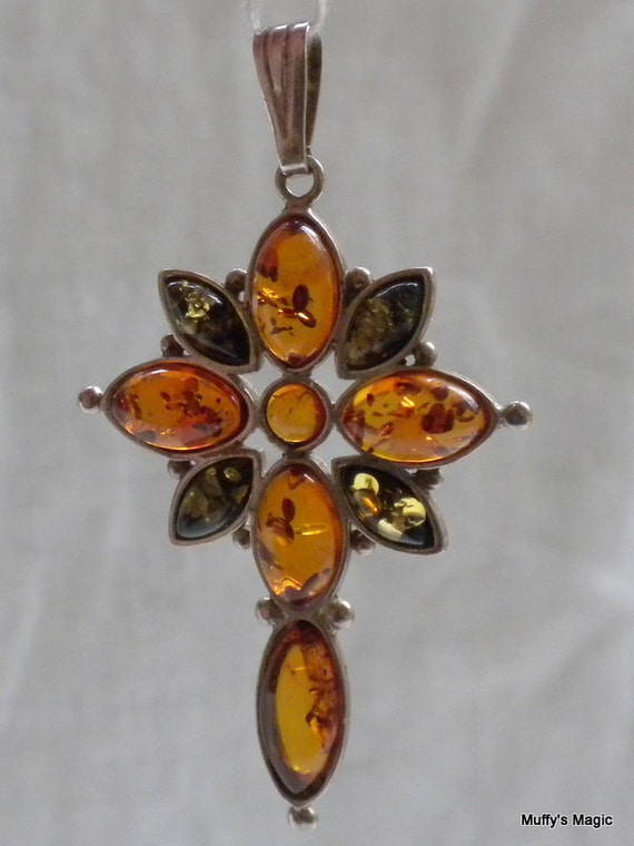 Vintage Green and Gold Amber Celtic Cross Pendant