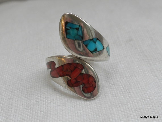 Reserved for Randi Sterling Silver Adjustable Ring Turquoise Coral Chips