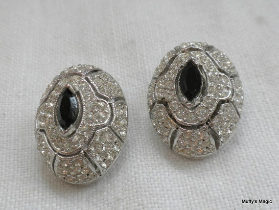 Ciner Art Deco Style Rhinestone Earrings Clear and Black