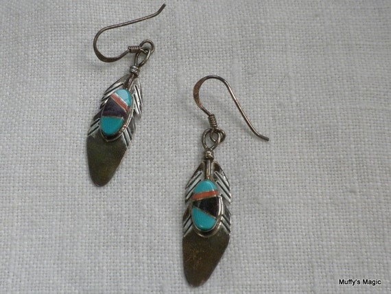 Vintage Native American Feather Earrings Sterling Silver and Inlaid Turquoise, Coral Sugite
