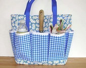 Garden Picnic Tote or Project Organizer in Blue Checked/Floral REDUCED