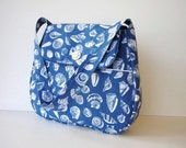 Blue and White Shoulder Bag Seashell Print with Outside Pockets