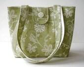 Tote Bag - Medium - Sage Green and Ecru Shoulder Bag - On Sale