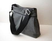 Black Shoulder Bag Purse with Crossbody Adjustable Messenger Strap