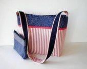 Red White Blue Shoulder Tote Bag - Matching Cosmetic Bag