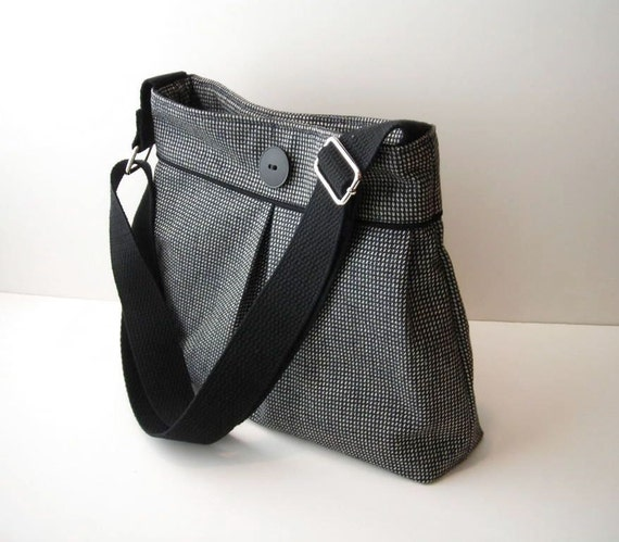 Black Shoulder Bag Purse with Crossbody Adjustable Messenger Strap