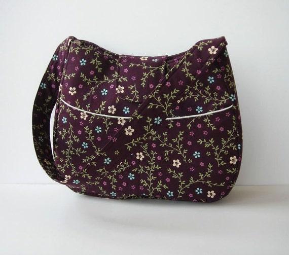 Shoulder Bag Deep Plum Purple Floral Print Hobo Outside