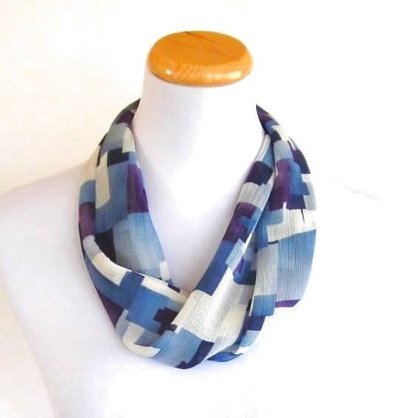 Silk Scarf Blue White and Purple Women Scarves