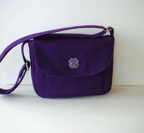 Purple Messenger Bag Purse - Adjustable Crossbody Strap - Small Shoulder Bag