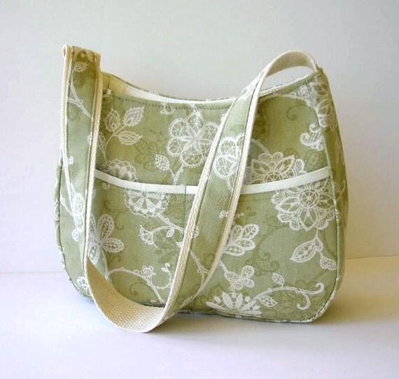 Sage Green Floral Shoulder Bag
