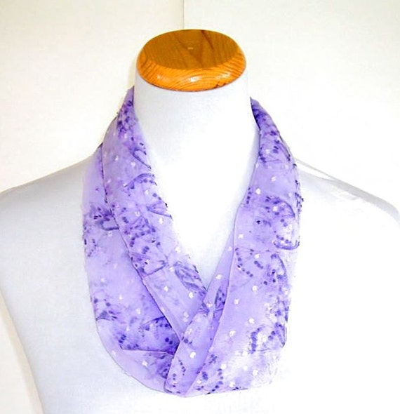 Lavendar Purple Silk Chiffon Scarf