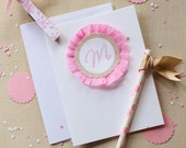 Candy Monogrammed Note Card Sets and Invitations