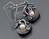 Fine Silver Earrings, Akoya Saltwater Pearl Earrings - Ocean's Breath