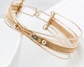 Woven Bracelet , 14kt Gold Filled Bracelet, Blue Diamond Bracelet - Orbital