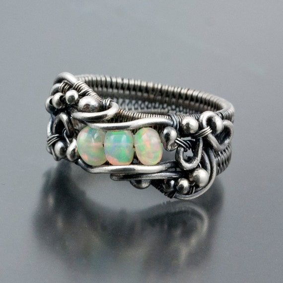 RESERVED- Fine Silver Ring - Ethiopian Opal Ring - Lily