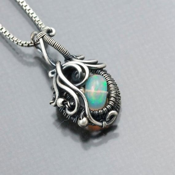 Ethiopian Opal and Fine Silver Pendant - Ocean's Breath