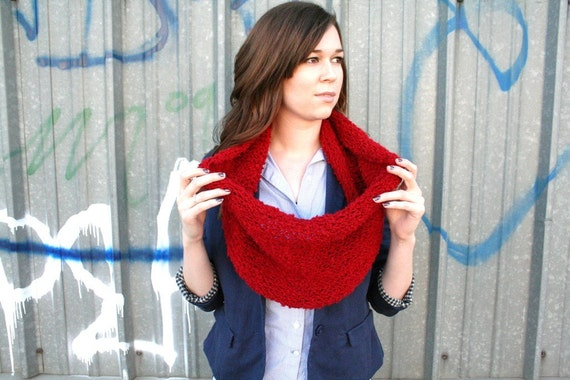 50% OFF---Super Thick and Fuzzy Red Cowl Warm Winter Cowl Thick Neckwarmer