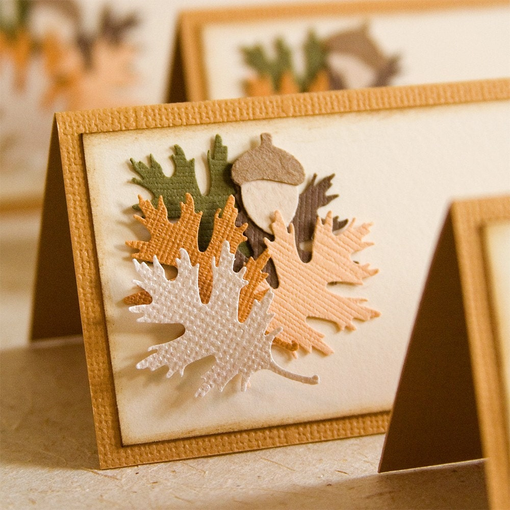Autumn leaves thanksgiving place cards by softdaystudios on etsy
