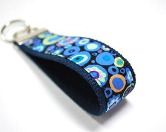 Fabric wristlet key fob keychain Kaffe Fassett