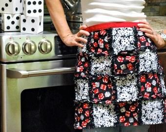 Rag quilt half apron in cotton DICE fabric for bunco casino