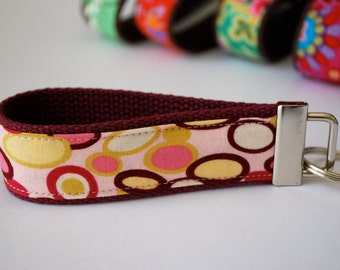 Key fob fabric wristlet in Alexander Henry Bangle Dot